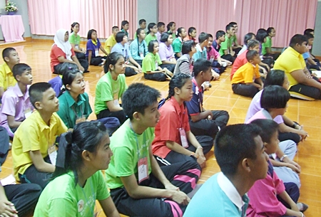 """Pattaya's next generation of environmental conservationists listen intently to the mayor (not shown) talk about Pattaya's """"Green Class Network""""."""