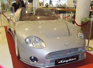 The hand-made, one-of-a-kind Spyker sports convertible.