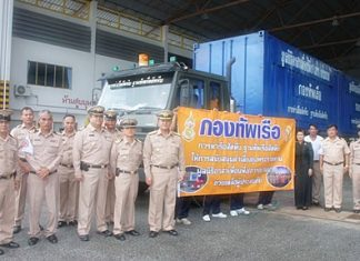 Navy officers and representatives of the Princess Pa Foundation are proud to be able to help their fellow Thais in a time of need.