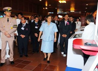 HRH Princess Maha Chakri Sirindhorn tours the exhibits at the 10th Thai Red Cross Assembly at the Ambassador City Jomtien Hotel.