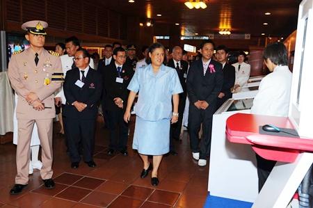 HRH Princess Maha Chakri Sirindhorn tours the exhibits at the 10th Thai Red Cross Assembly at the Ambassador City Jomtien Hotel.