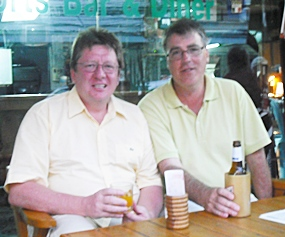 Geoff Williams (right), winner at Crystal Bay with his mate Harvey.