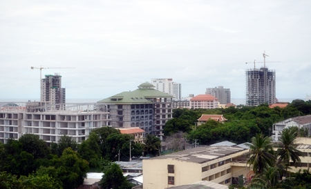 Building cranes dot the skyline as construction of new condominium projects continues apace on Pratumnak Hill, south Pattaya.