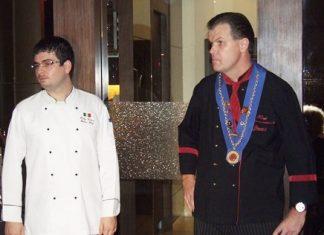 Italian Chef Rudy Casera (left) and Bruno's owner Fredi Schaub address the gathering.