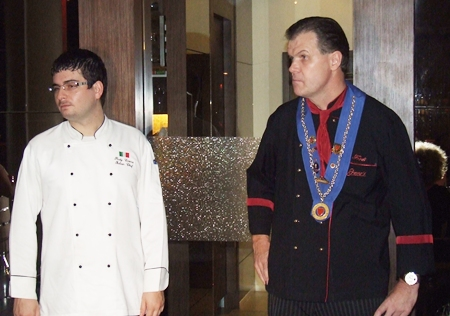 Italian Chef Rudy Casera (left) and Bruno's owner Fredi Schaub address the gathering.