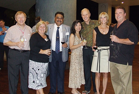 A happy group of people (l-r) Bruce Hoppe (VP of Asia Operations, Emerson Electric), Tracy Cosgrove (Melissa Cosgrove Children's Foundation), Peter Malhotra (MD Pattaya Mail Media Group), Pui and Jim Phillips (US Embassy Warden), Judy Hoppe and Herman Rowland (Jelly Belly).