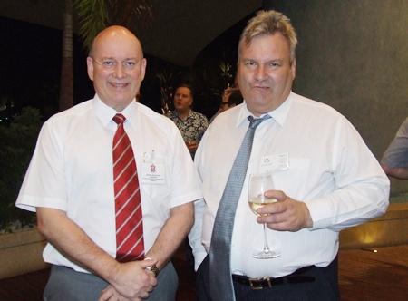 How's the wine? Graham Macdonald (Chairman BCCT) with Gregory Pitt (MD Mackenzie Smith).
