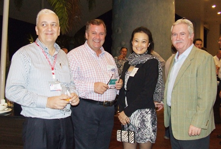 The big guns (l-r) David Nardone (President & CEO Hemaraj Land And Development PCL), Philip Fletcher-Wilson (CEO Fletcher-Wilson Partners), Mariko Higuchi (Country Director, Association of Life Partners Ltd.) and Gary Biesty (South Asia Law Co., Ltd.).