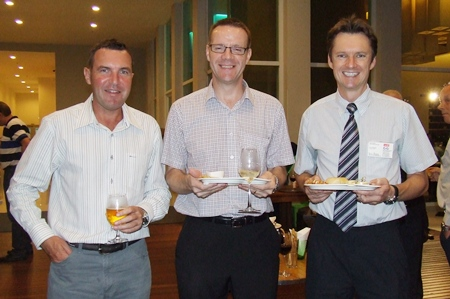 The snacks look yummy. (l-r) Paul Wilkinson (AustCham), Roger Wilson (Sales & Marketing Manager GKN Driveline) and David Wilkinson (MD Wood Group Heavy Industrial Turbines (Thailand) Ltd.)