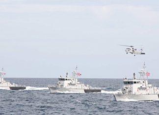 The 3 as yet unnamed Thai built coastal-patrol boats undergo sea trials in Sattahip.