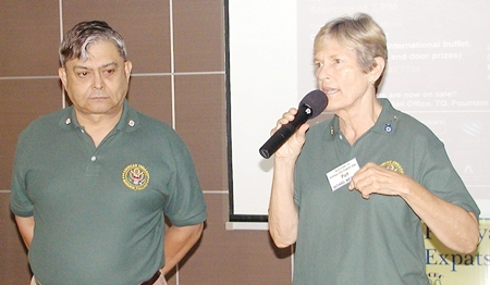 Al Serrato and Pat Koester, both of whom were appointed as US Embassy wardens for the Pattaya area this year, report on the annual warden's conference.  A major message from the conference is that all foreigners living abroad should register with their embassy, so they or their designated representative can be contacted in case of emergency.  Pat also acknowledged two long-time wardens in the audience, Gary Hacker and Jim Phillips.