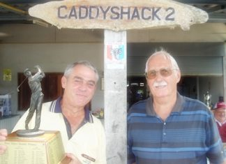 Winner Dale Drader (left) with the monthly trophy and runner-up Paul Kinmond (right).