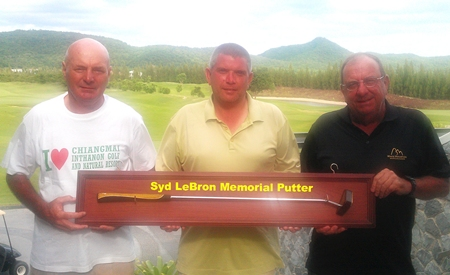 Mark Reid (centre) was the winner of the Syd LeBron Memorial Putter with 108 points from Phil Waite (right) with 104 points and Steve Mann (left) with 103.