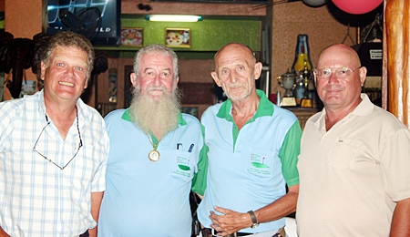 Rabbi and Mr. Len flanked by Monday's winning pair of Benny Hansen and Don Nellis.
