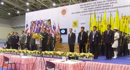 Pattaya Mayor Itthipol Kunplume presides over the opening ceremony of the International Youth Weightlifting Championships on Monday, Sept. 5 at the Pattaya Indoor Sports Arena.