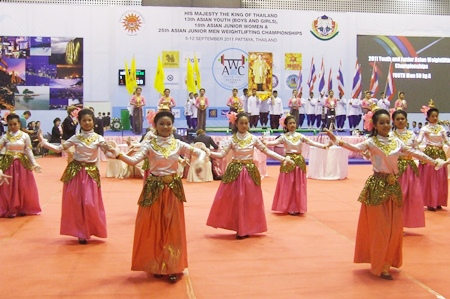 Dancers perform in traditional Thai costume during the closing ceremony.