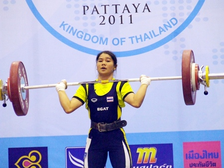 Thailand's Naruephon Saenchek on her way to setting a new youth world record in the clean & jerk discipline.