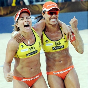 World Ranked No.1 and current world champions Larissa and Juliana from Brazil.