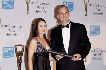 Marinique Truter (left), executive manager, World Luxury Hotel Awards and Harald Feurstein (right), general manager of Hilton Pattaya at the World Luxury Hotel Awards Gala in Zagreb, Croatia on September 16, 2011.