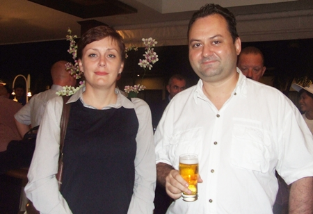 Elena Sayapina, marketing manager from Big Mango poses with fellow Russian Igor Burla.