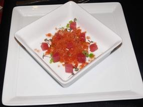 Tuna tartar and Bloody Mary Granita.