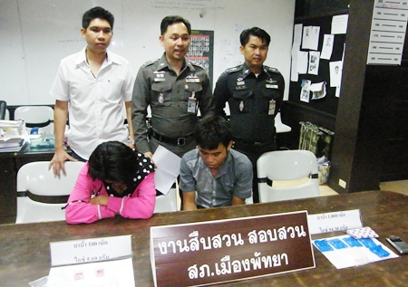 Nanthawut Sriraksa and Vasana Nanta were arrested with 60 grams of crystal methamphetamines and 1,100 ya ba tablets.