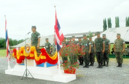 Marine Corps commander Rear Adm. Sompong Sungsuwan addresses 488 troops slated for duty in Pattani, Yala and Narathiwat.