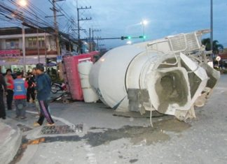 Too young, too fast - 18-year-old Noparat Chumpa couldn't maintain control and flipped the big cement mixer onto its side.
