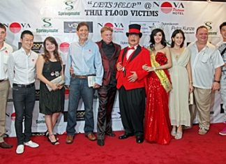 Left to right: Sascha Kunze (Hotel Manager Nova Platinum Hotel), Nophol Techaphangam (Vice MD Springmate), Nataporn Techaphangam (Sales Manager Springmate), Christopher G. Moore (Author), Sifu Mark Gerry (Martial Arts star from US), Dr. Penguin (Magician from US), Nong Sammy (Miss Intl. Queen 2011), Jayme Buher (celebrity), Michael Procher (GM Nova Platinum Hotel, Amari Nova Suites Pattaya and Nova Gold Hotel) and YUAN DRAGON 5 (Celebrity) attend the fund raising event at Nova Platinum Hotel, Friday, November 11.