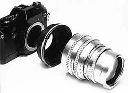 Medium format lens and a 35 mm camera.