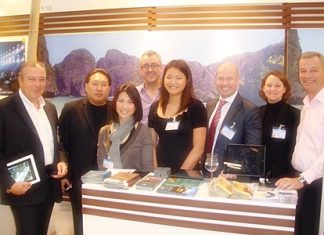 René Pisters (left), GM of the Thai Garden Resort and Ingo Raeuber (right), Group GM of the Pinnacle Hotels, Resorts and Spas flew the Pattaya flag high and prominent during their recent promotional trip to Munich Germany. Over 900 travel agencies of the REWE Group attended the function where René and Ingo spent all day passing out brochures and giving information to the European tour operators. The two world roving ambassadors of Pattaya reported that the response was very positive and the agencies were very curious to learn more about Pattaya. Bangkok, Phuket, Koh Tao and Koh Samui were also strongly represented at the promotional gathering.