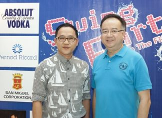 The elegant 4-star Furama Jomtien Beach Hotel was the venue of the 'Pajama Pool Swing Party' held recently. Tatcha Riddhimat (right), the general manager welcomed Auttaphol Wannakij (left), the vibrant and energetic director of the Tourism Authority of Thailand (TAT) Pattaya office to this fun affair.