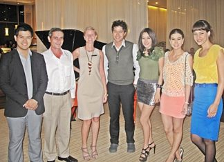 Stars of the new Channel 7 TV drama entitled 'The Deadline' were seen enjoying themselves at the Pullman Pattaya Aisawan Hotel & Resort recently. (L to R) Tawan Jaroojinda; Serge Rigodin, resident manager of Pullman Aisawan; Cecilia Pitre, promotions manager; Nopphon Phitaklohphanich; Woranuch Bhirombhakdee; Emmy Klinprathum and Marisa Annita.