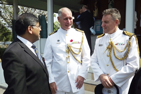 The British ambassador shares a moment with the Australian Defense Attaché Capt Jonathan Dudley and the New Zealand Defense Attaché  Brett Fotheringham.