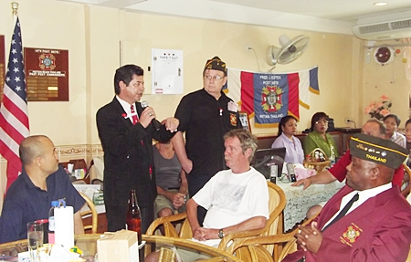 US Embassy Warden Pattaya Bobby Brooks delivers remarks during Veterans Day ceremony: (L to R) Post 9876 Post Surgeon Siamrad Maher; Warden Bobby Brooks; Post Commander Eric Larsen; Post 9876 member Willie F. Worsham.