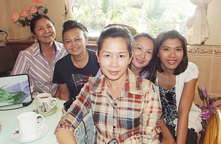 Members of American Veterans Wives Club Pattaya Thailand visiting for Veterans Day ceremony. (L to R) Rasikha Cherry, Morn Mack, Kanjana Clark, Tik Goodman, and Waupen Schweiterman.