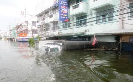 Flood waters shut down everything in Nava Nakorn.