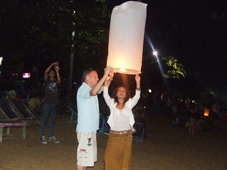 Feeling all romantic whilst releasing a khomloy into the night sky.