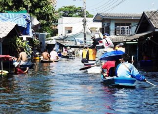 What was once a quiet little soi in this Ayuthaya hamlet is now a navigateable klong. Our staff reporters recently tagged along when Securitas Security Services (Thailand) Co. spearheaded a Pattaya relief group voyage to deliver much needed supplies to flood victims there.