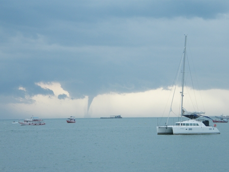 Waterspouts can be dangerous and it is advised that boaters steer clear of them.