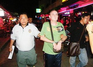 Police hunted down and arrested Hartley at a beer bar complex in central Pattaya.