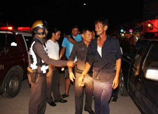 "Navy police break up the shooting and bring in Sombat ""Pooyai Pae"" Zupcharoen for questioning."