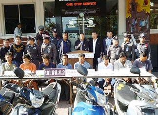 Police bring out for the press a gang of motorcycle thieves who allegedly sold bikes to Burmese smugglers for as little as 2,000 baht.