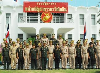 High ranking entourages from both the Thai and Cambodian armed forces pose for a friendly group photo.