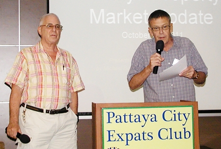 PCEC board member David Meador updates members on Pattaya activities for the week, before handing to MC Richard Silverberg to introduce the guest speaker.