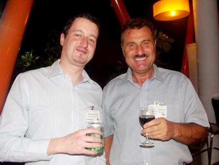 Damien Kerneis, key account manager for Geodis Wilson Thai, and Michael Diamente, managing director of Dana Spicer, debate: beer or wine?