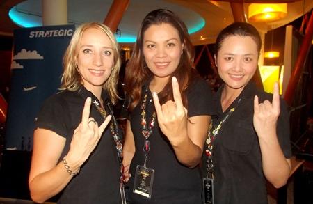 Svetlana, Jum and Nok from Hard Rock Hotel signal their enduring friendship.
