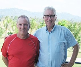 Jim (left) and Joop pose for a photo at Pleasant Valley Golf Club.