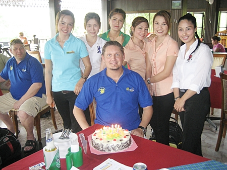 Birthday boy Dannie celebrates with the staff at Emerald.