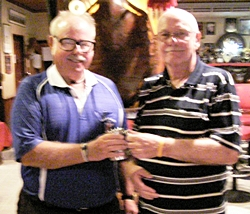Nigel Cannon (right) receives his Cafe Kronborg November Monthly Mug from The Admiral.